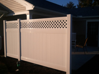 completed tan vinyl fence in lititz pa