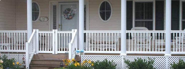 white vinyl railing around front porch
